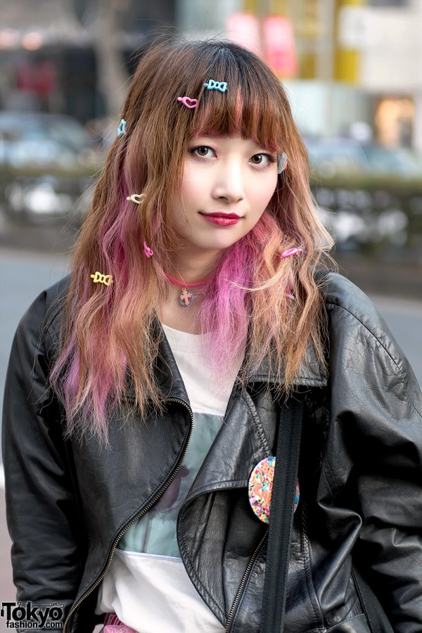 Pink Hair & Leather Jacket in Harajuku