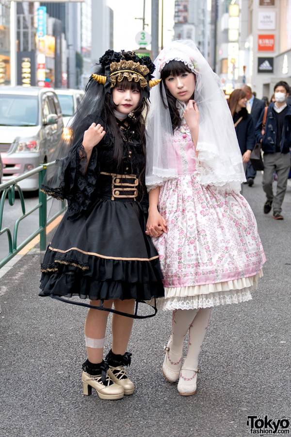 Horned Harajuku Girl in Gothic Lolita Fashion vs. Angelic Pretty Street Style