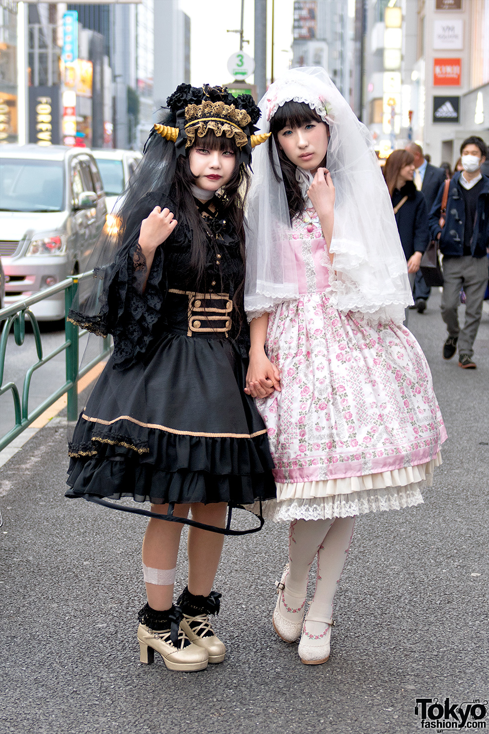 Horned Harajuku Girl In Gothic Lolita Fashion Vs Angelic