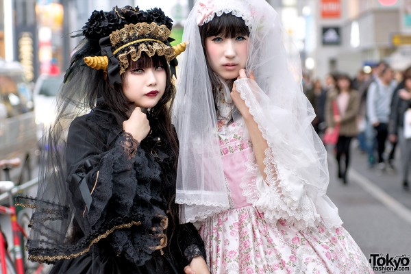 Harajuku Girls with Horns & Lace Veils