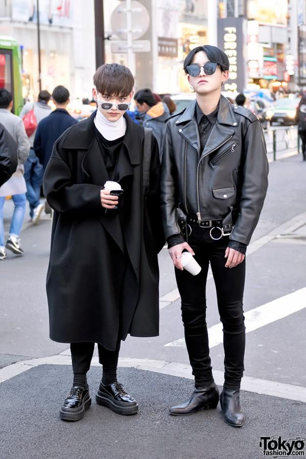 Harajuku Guys in Dark Street Styles w/ Wool Coat, Biker Jacket, Acne Studios & Kushitani