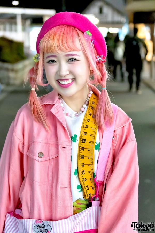 Orange Twintails Hairstyle in Harajuku