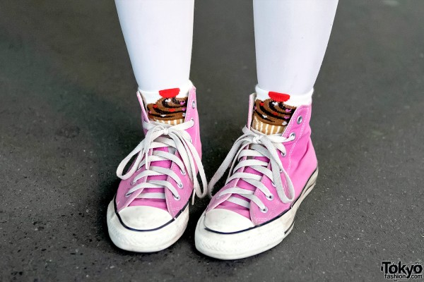 Pink Converse Sneakers With Cupcakes
