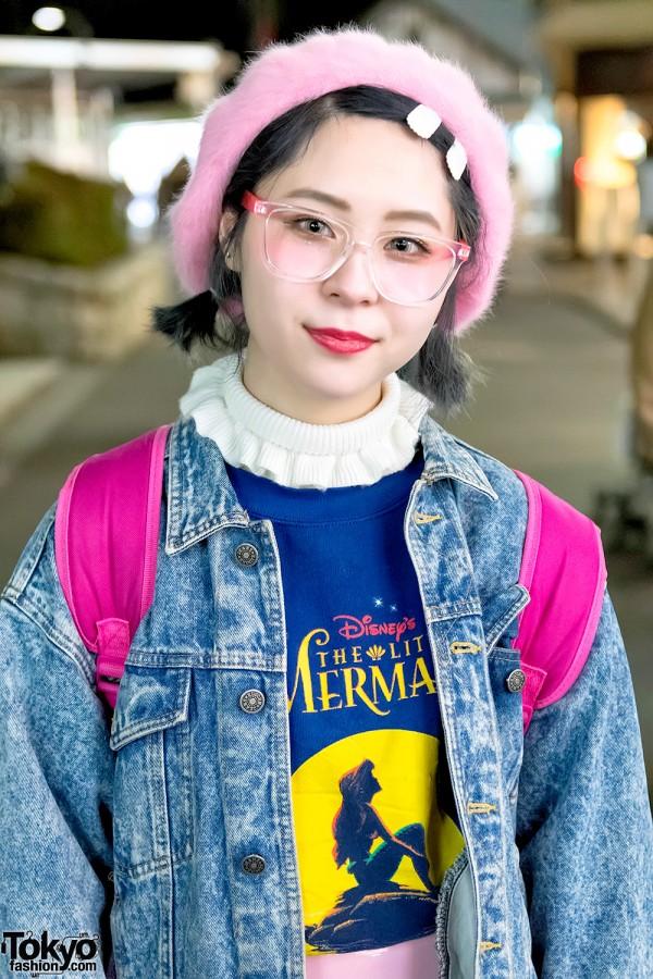 Harajuku Girl in Denim Jacket & The Little Mermaid