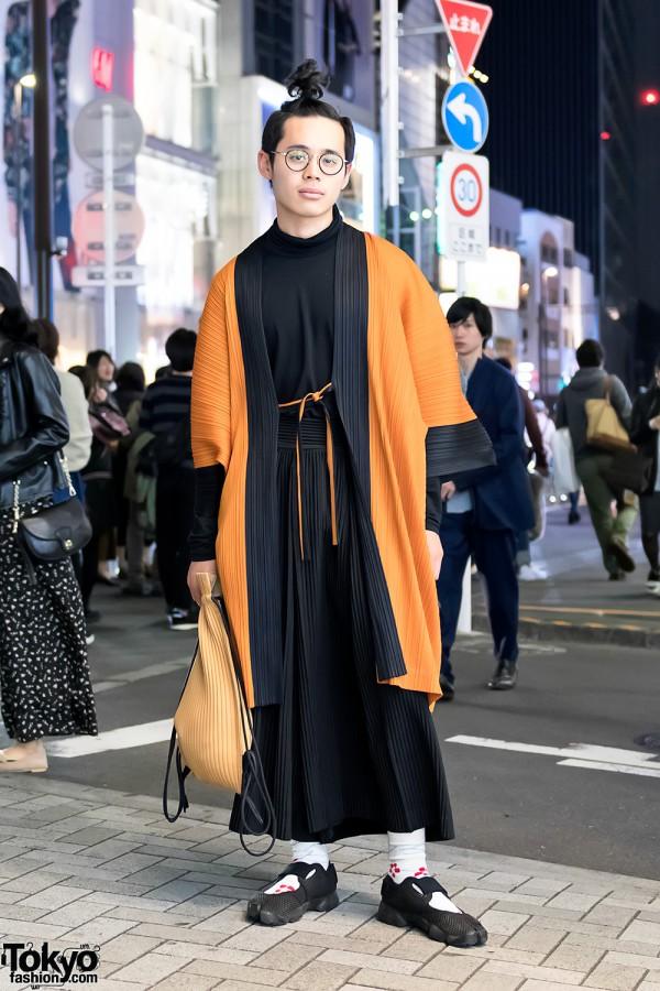 Issey Miyake x Ikko Tanaka Pleats Kimono Jacket & Tabi Nike in Harajuku
