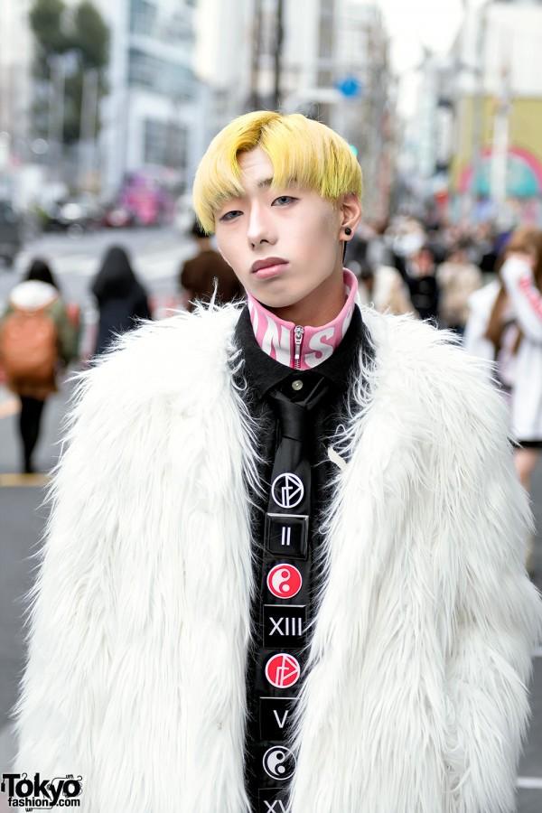 Faux Fur Coat x Gosha Rubchinskiy Ying Yang Tie