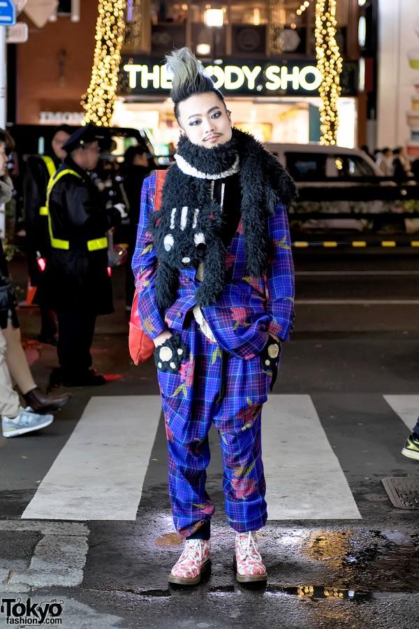Harajuku Guy in MalkoMalka Plaid Suit, Cat Muffler & Rose Dr. Martens