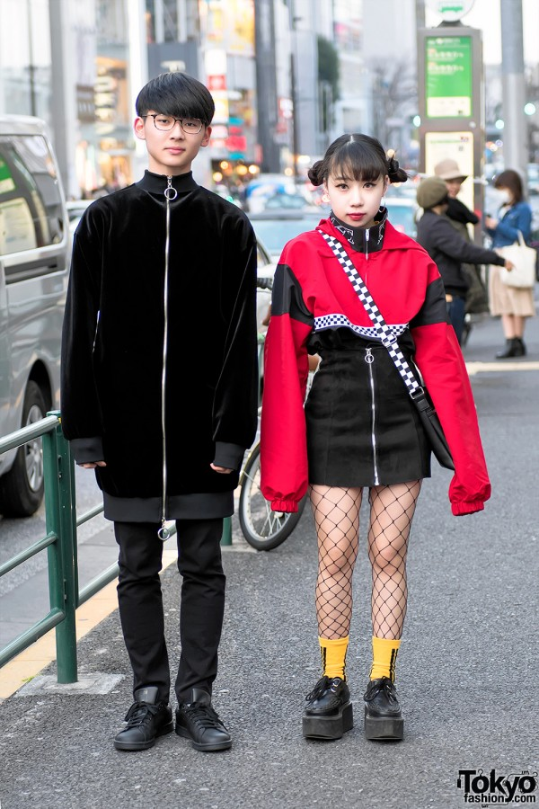 Red Black Harajuku Street Styles W Creepers Fishnets