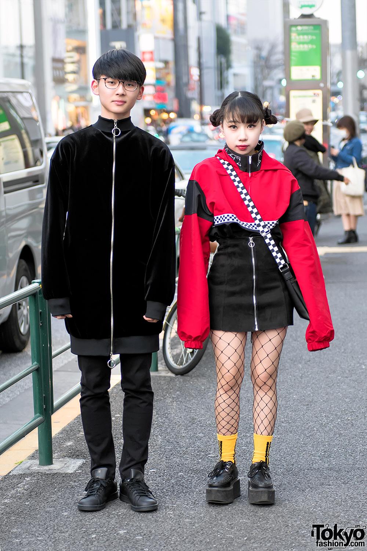 Red Black Harajuku Street Styles W Creepers Fishnets Spinns Wego