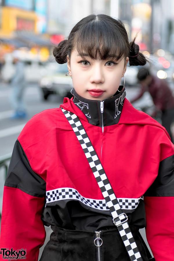 Twin Buns Harajuku Hairstyle & Red Jacket