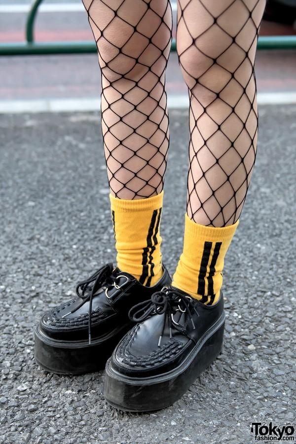 Fishnets, Orange Socks & Platform Creepers