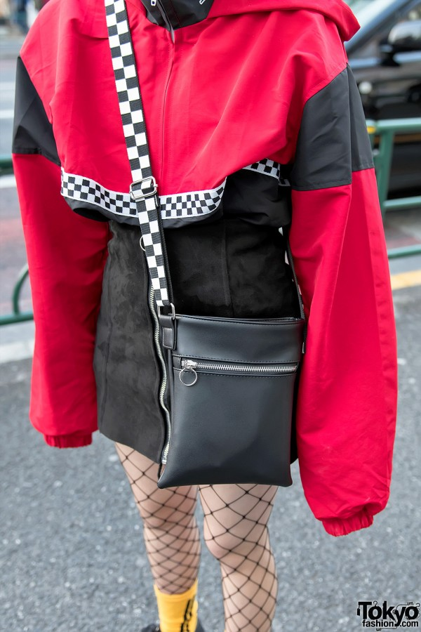 red amp black harajuku street styles w creepers amp fishnets
