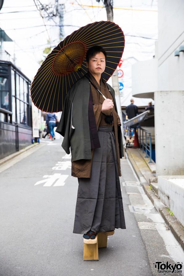 Traditional Japanese Fashion & Tengu Geta Sandals in Harajuku