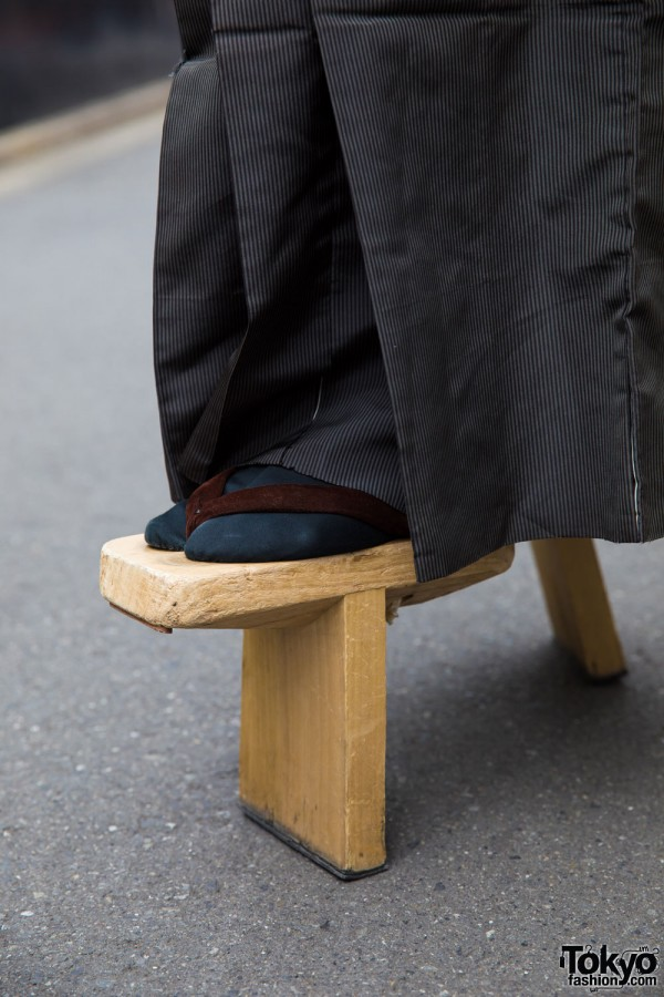 Pinstriped Hakama & Geta Sandals