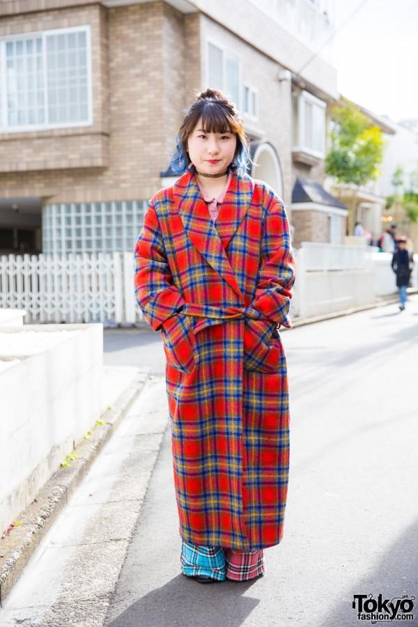 Harajuku Girl w/ Blue Hair Tips in Tartan Kinji Coat, Mocha & Nadia