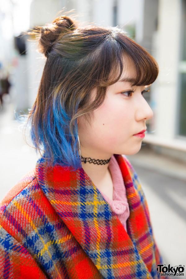 Blue Hair Tips & Silver Hoop Earrings