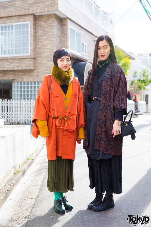 Harajuku Girls in Kimono Coats w/ Pleated Midi Skirts, Vivienne Westwood & Converse