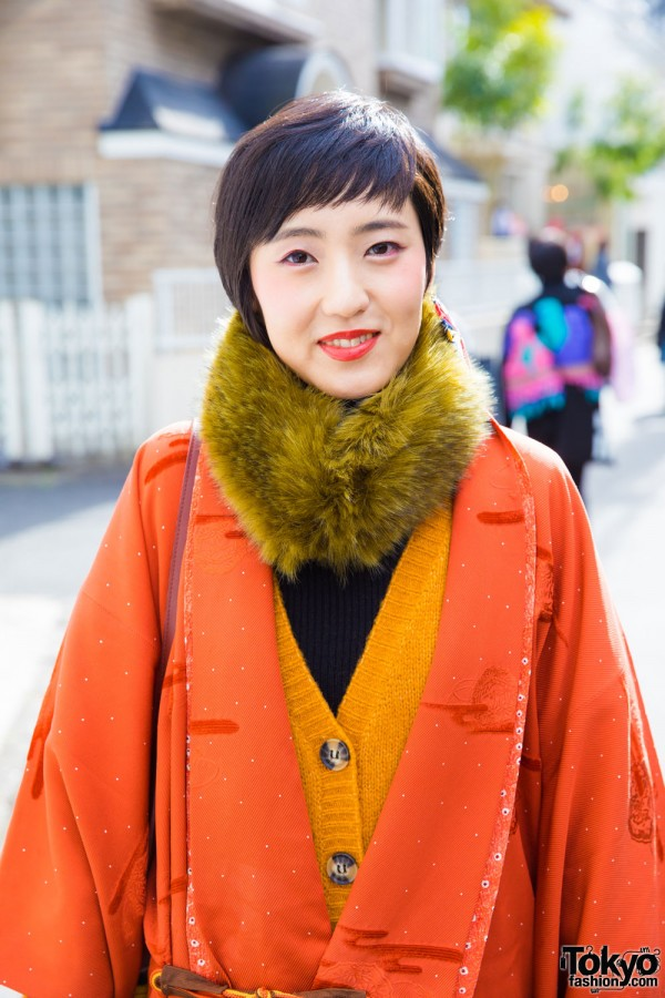 Used/Resale Orange Kimono Coat & Zara Cardigan