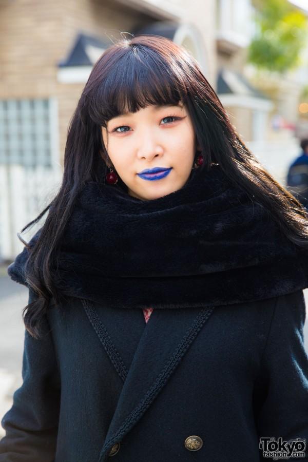 Fuzzy Neck Warmer Scarf and Blue Lipstick