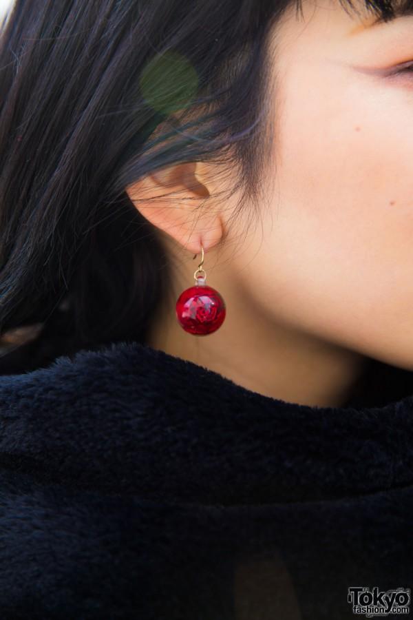 Red Bead Drop Earring