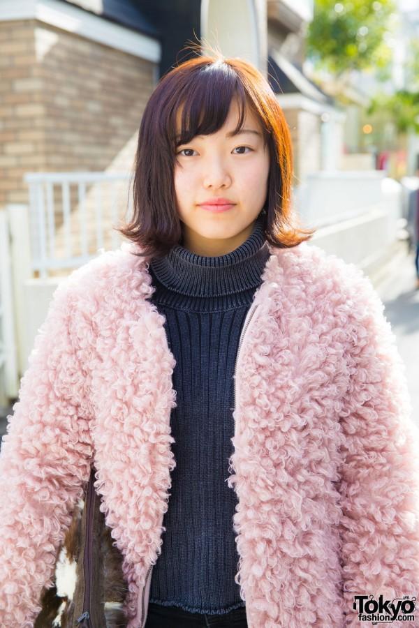 Jouetie Ribbed Turtleneck Sweater & D-Holic Fuzzy Jacket