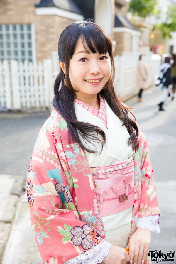 Pink and White Kimono