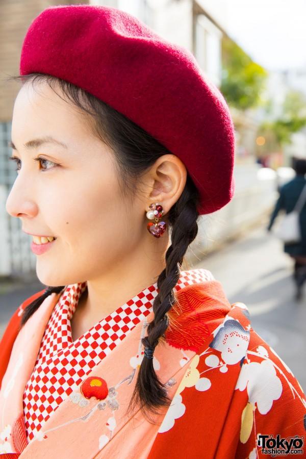 Fuzzy Beret & Cluster Bead Earrings
