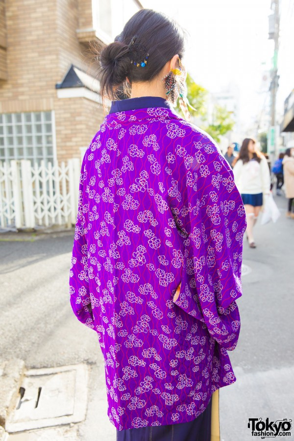 Printed Purple Kimono