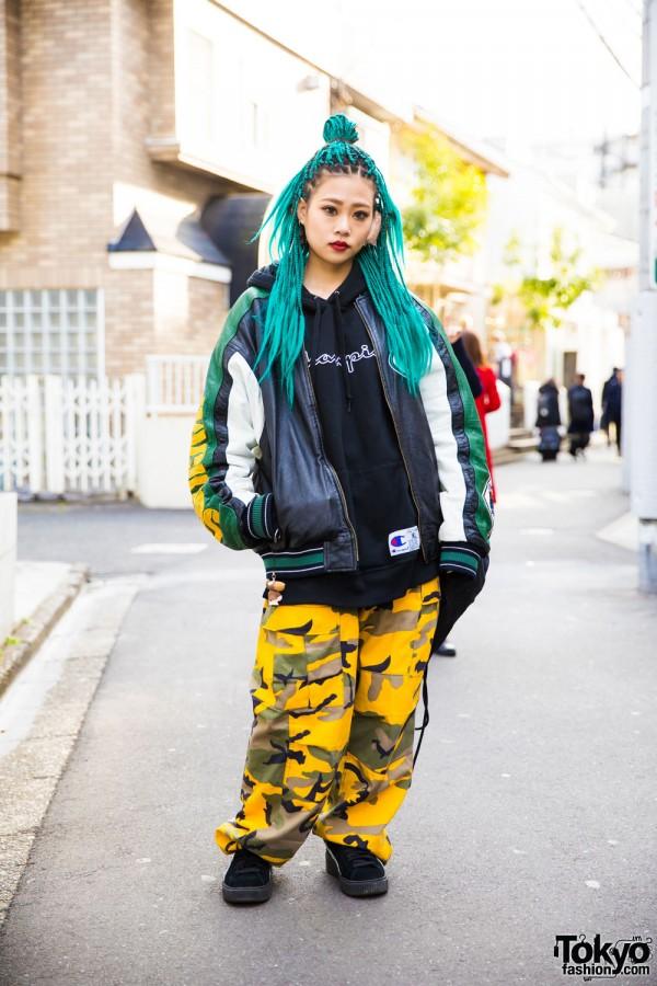 Aqua-haired Harajuku Girl in Camow/ A'Gem, Puma, Adidas & Champion