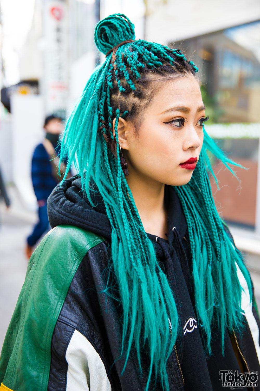 Aqua Haired Harajuku Girl In Camow A Gem Puma Adidas