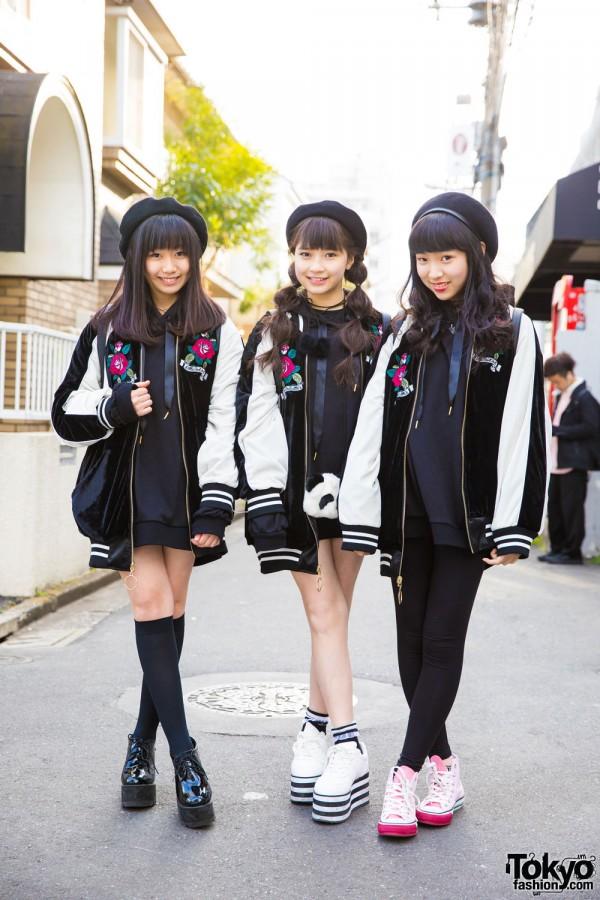 Harajuku Students in Matching Sukajan Jackets by One Spo, Bubbles Tokyo & WEGO