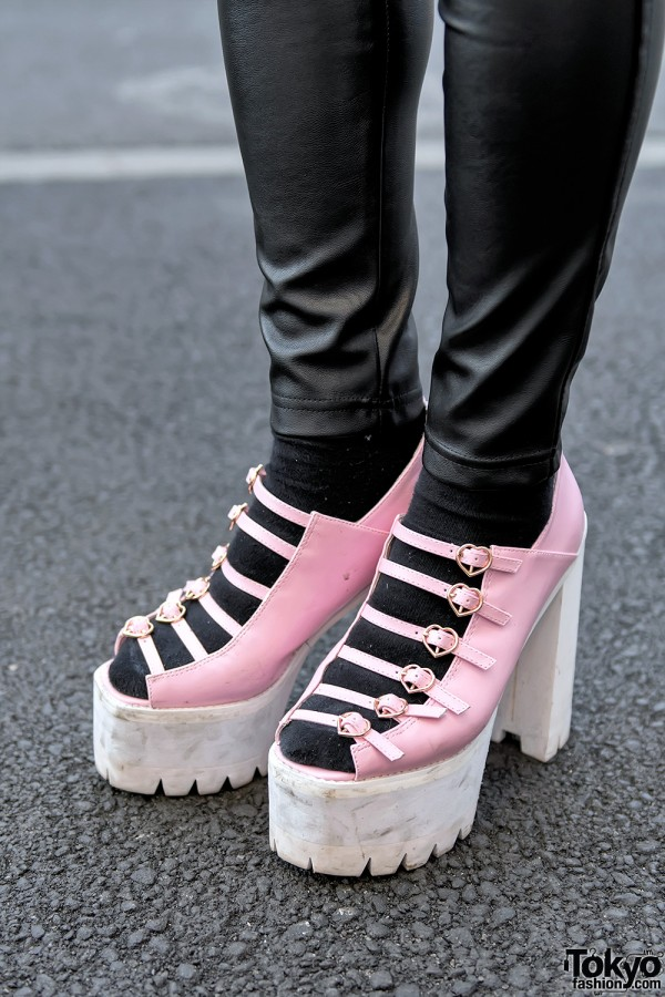 Faux Leather Pants & One Spo Platform Sandals