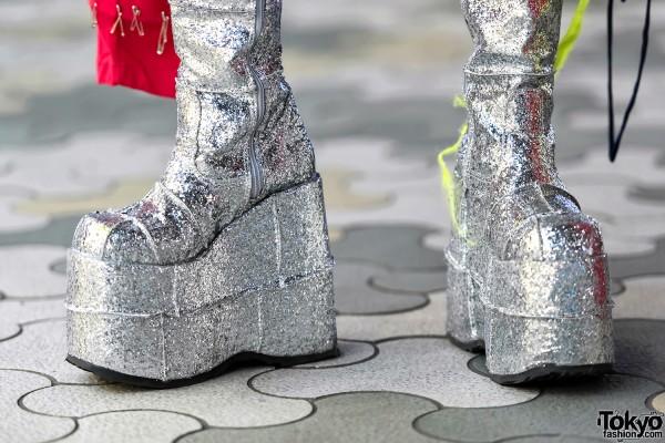 Tall Glitter Platform Boots