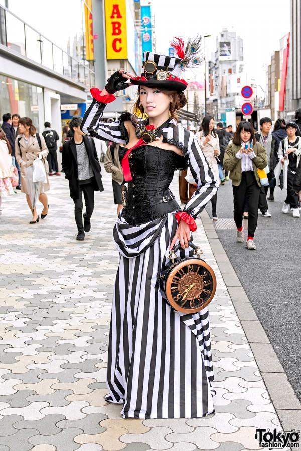Japanese Dancer in Harajuku Steampunk Street Style & Giant Clock Bag