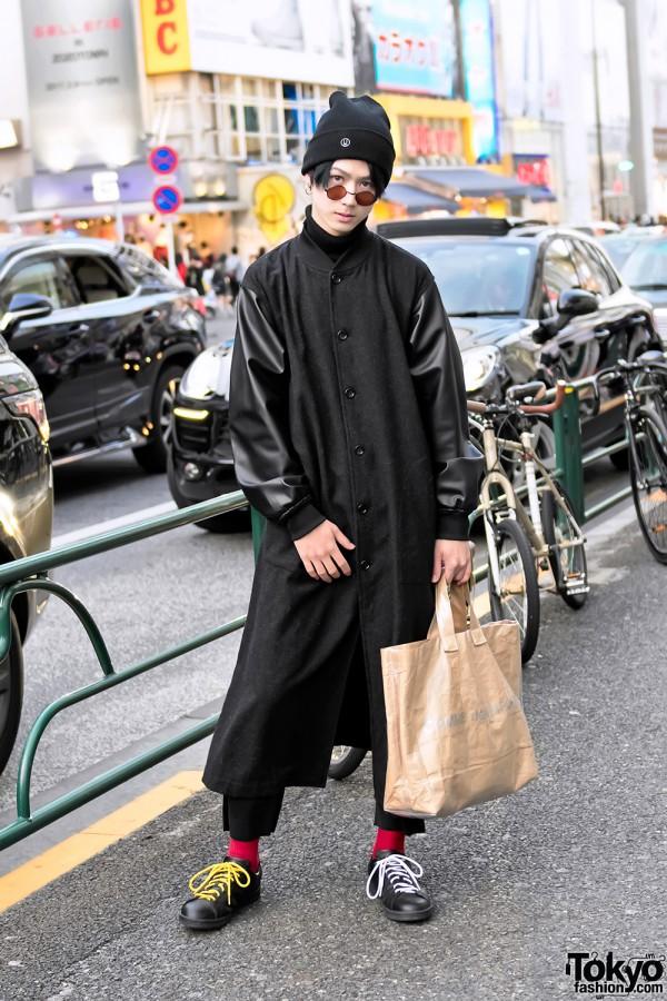 "Harajuku Guy in Comme Des Garcons ""Printemps-Ete 1986"" Staff Coat & Undercover Knit Cap"