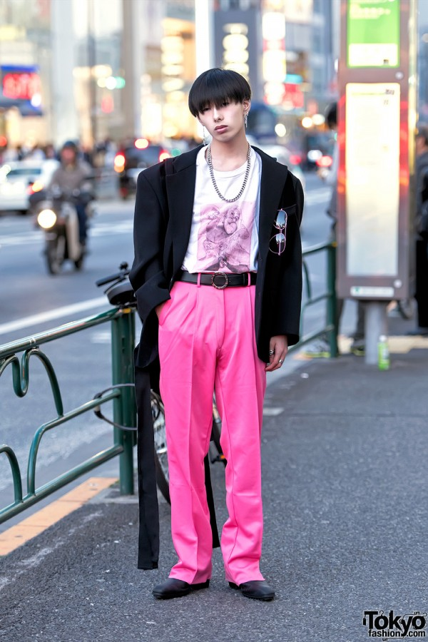 Oversized Comme Des Garcons Blazer, Pink Pants & Just In Case Bag in Harajuku