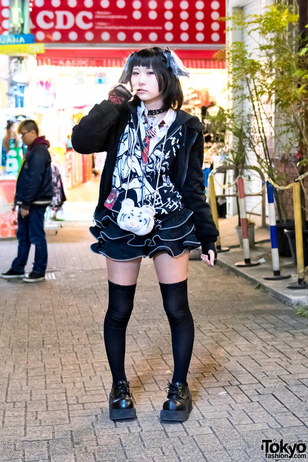 Harajuku Girl in Rock Style w/ Hypercore, ACDC Rag, Hellcat Punks & Demonia
