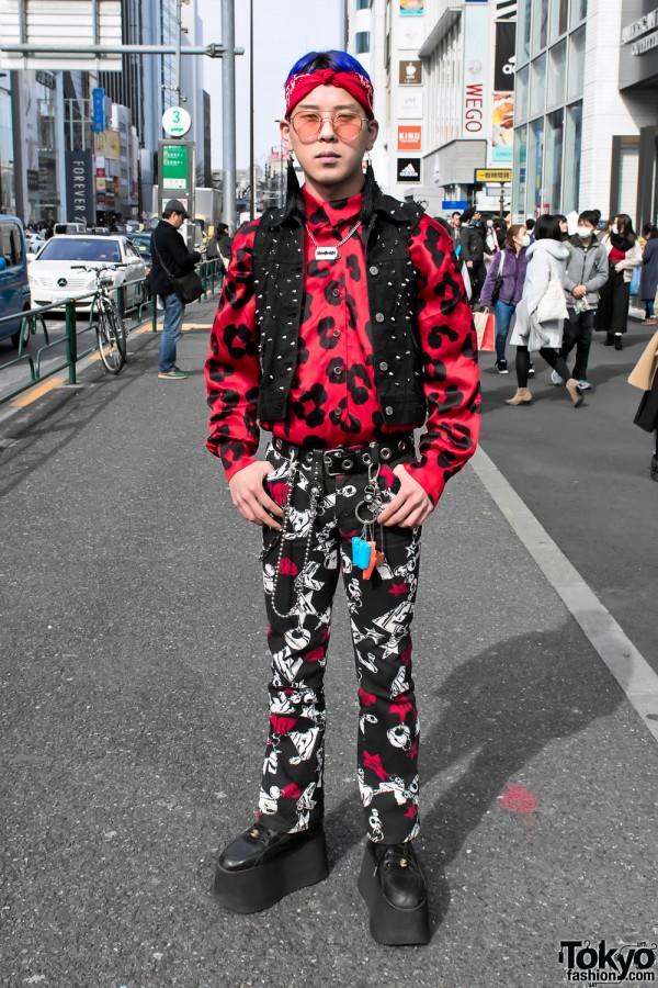 Moschino Graphic Pants & Vintage Harajuku Street Fashion