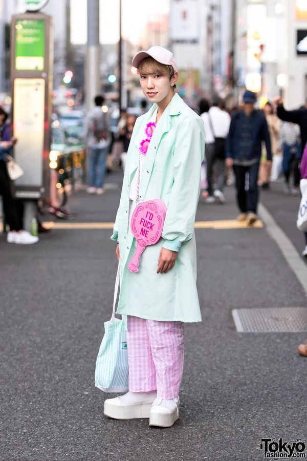 Harajuku Guy in Mint & Pink Fashion w/ Pinky Magic, Dolls Kill, G2?, WC & Jeffrey Campbell