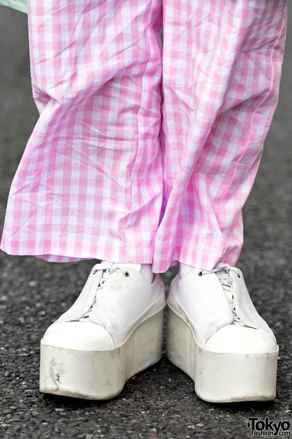 Pink Checkered Pants &  Jeffrey Campbell Platform Shoes