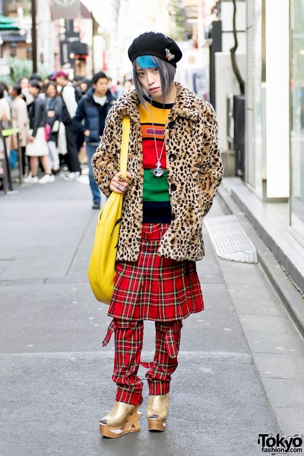 Harajuku Guy in Leopard Coat, Sexy Dynamite London, Dolls Kill & Vivienne Westwood