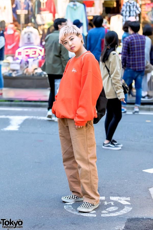 Harajuku Girl in Stussy, Carhartt & Checkerboard Vans Sneakers