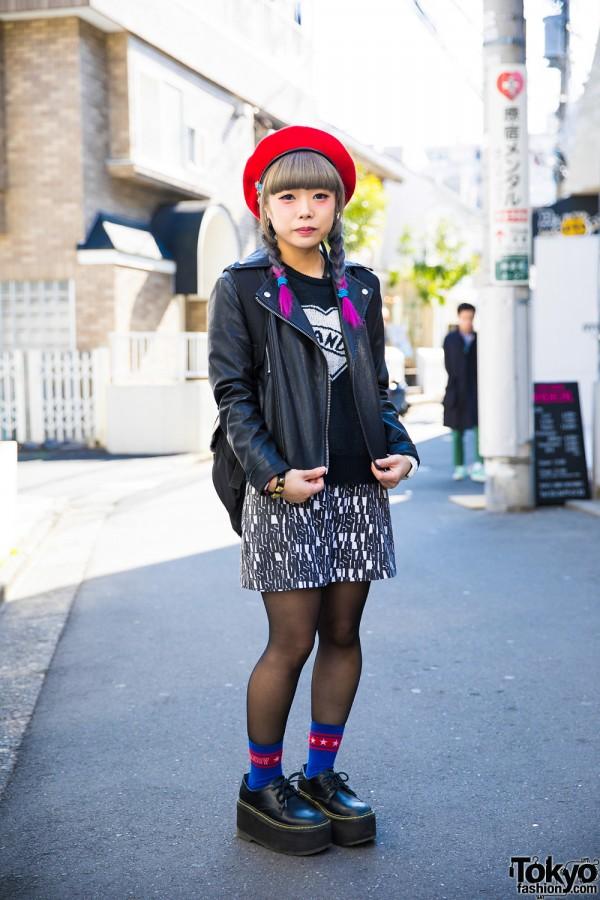 Dip Dye Twin Braided Harajuku Girl in Biker Jacket w/ Candy Stripper, Vision Street Wear & Thrasher