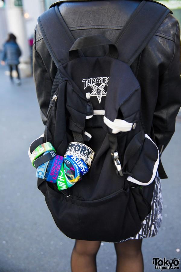 Thrasher Backpack & Rubber Bracelets