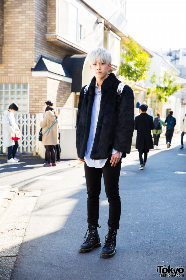 White-haired Harajuku Guy in Used/Resale, Uniqlo, MCM & Dr. Martens