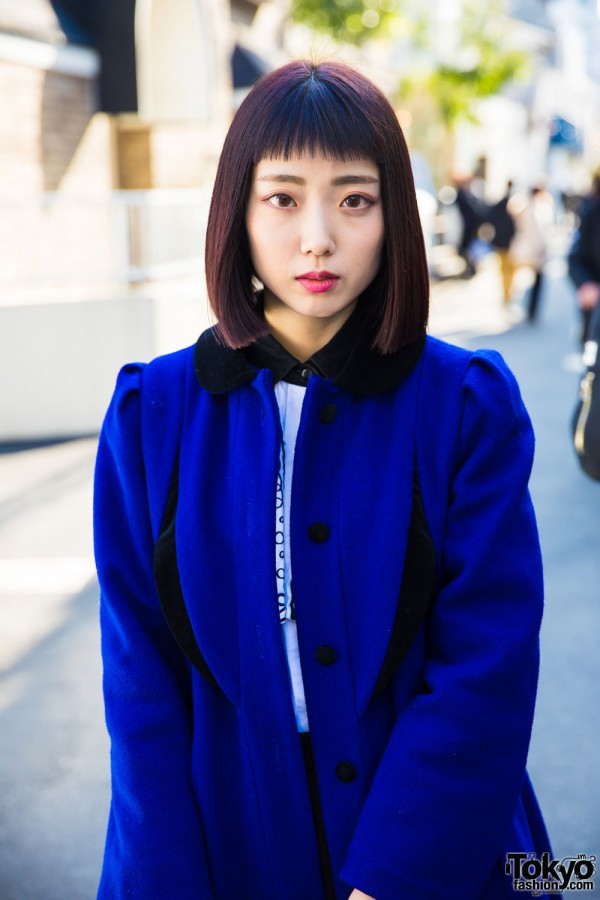 Sankaku Tokyo Vintage Electric Blue Long Coat