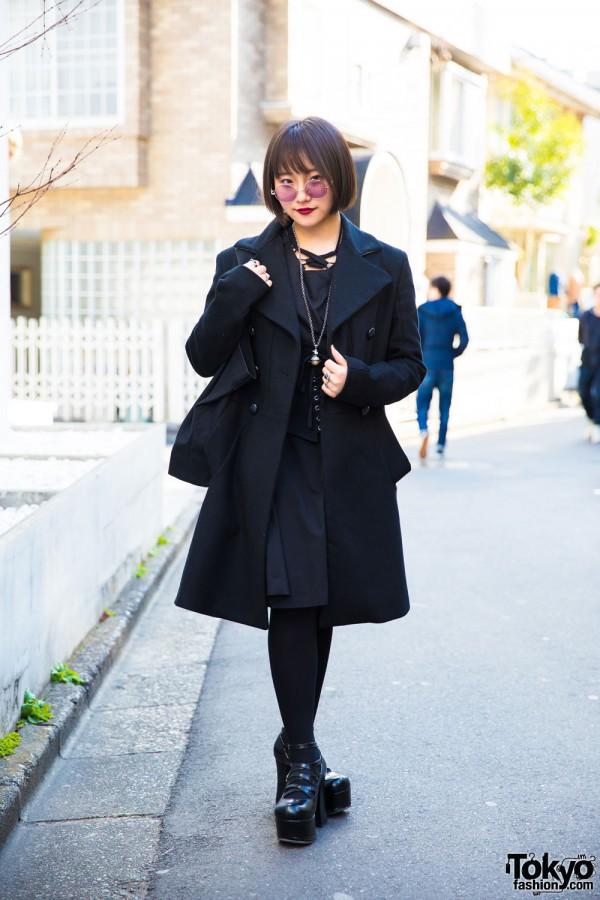 Harajuku Girl in Stylish All Black Fashion w/ Vivienne Westwood, Miho Matsuda, Yosuke USA & Deal Design