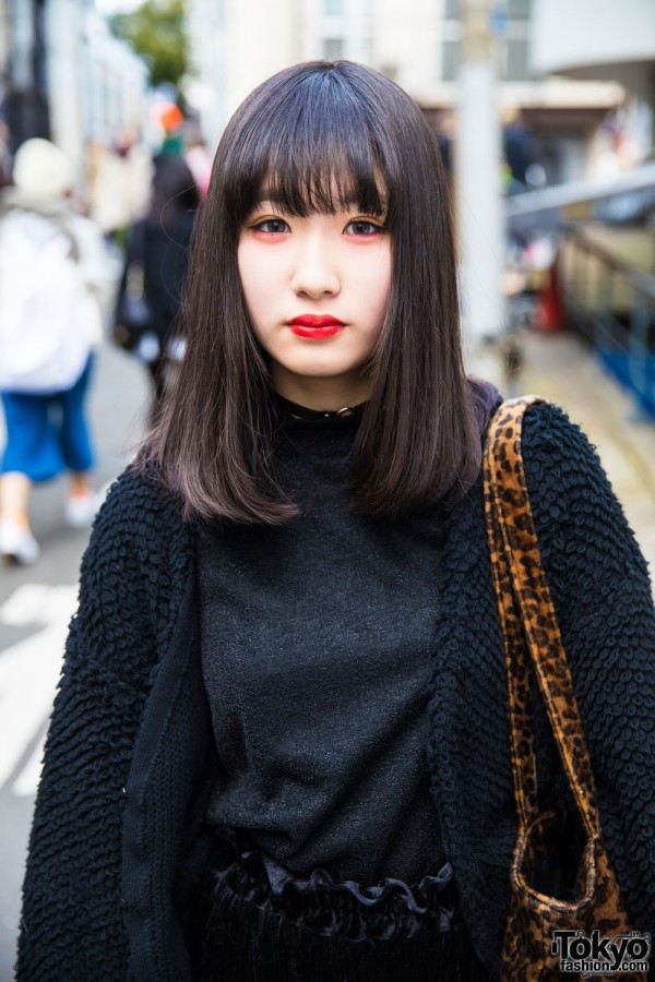 Black Top & Knitted Cropped Cardigan