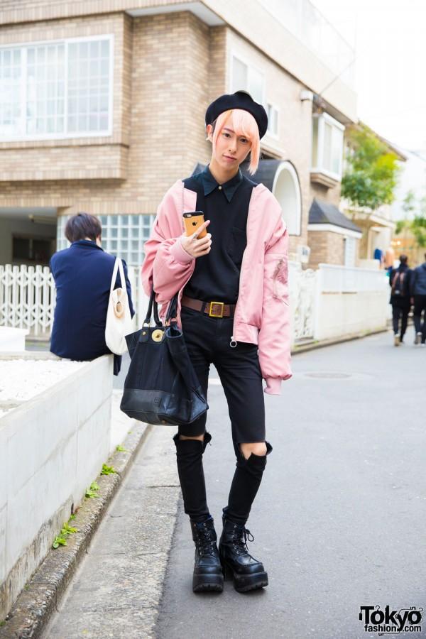 Stylish Harajuku Guy in Pink and Black Fashion w/ LHP, Never Mind the XU, Yosuke & Gypsy Cloth