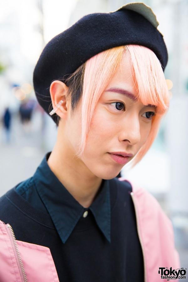 Pink Hair, Ear Clip & Button Down Shirt